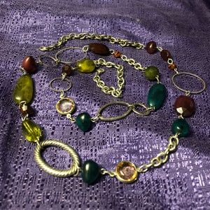 Silver & Earth Tone Long Costume Necklace